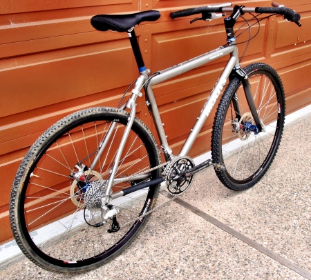 A custom Moots Psychlo-X YBB with disc brakes and an original Jones H-Bar.